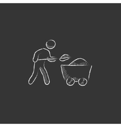 Mining worker with trolley Drawn in chalk icon vector image