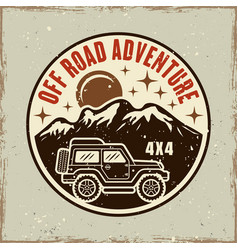 Off road adventure colored round emblem vector