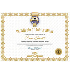 Official white certificate of a4 format with beige vector