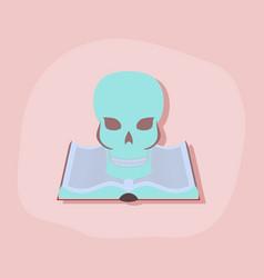 Paper sticker on stylish background book skull vector