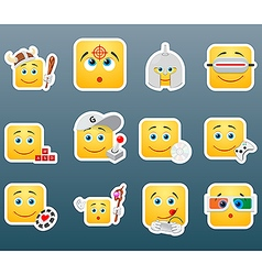 Playing smile stickers vector image