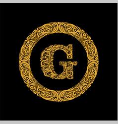 Premium elegant capital letter g in a round frame vector