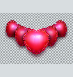 realistic air balloons in shape of elegant heart vector image