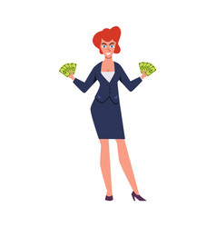 rich woman success character with luxury suit vector image