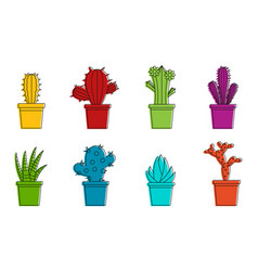 room cactus icon set color outline style vector image