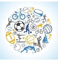 round concept with sport icons and signs vector image