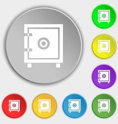 Safe money icon sign Symbol on eight flat buttons vector image