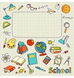 School doodle on the page with space for text vector