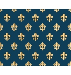 Seamless gold pattern with fleur-de-lys on a dark vector