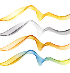 set of abstract color wave smoke transparent blue vector image