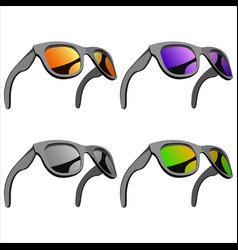 set of sunglasses with mirror lenses vector image