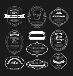 set vintage bottle label design vector image