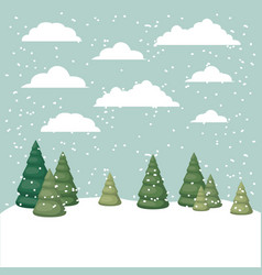 Snowscape with pines scene vector