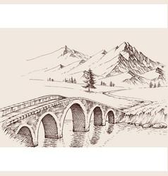 Stone bridge over river in mountains alpine vector