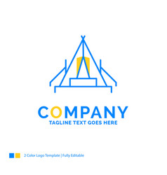 Tent camping camp campsite outdoor blue yellow vector