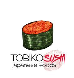 Tobiko sushi vector