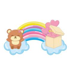 Toy bear and rainbow vector