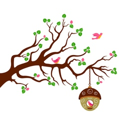 Tree with cute bird house vector