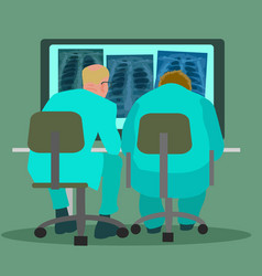 two doctors pulmonologists examining chest x ray vector image