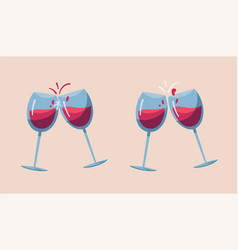 two wine glasses cartoon vector image