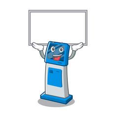 Up board digital information cartoon kiosk above vector