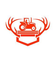 white tail deer antler tractor retro vector image vector image
