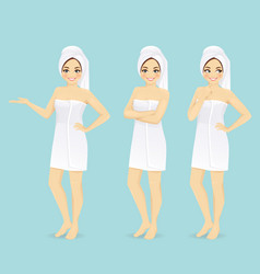 Woman in towel vector