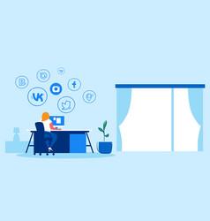 Woman using computer application online social vector