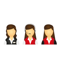 young girls receptions icons isolated over white vector image