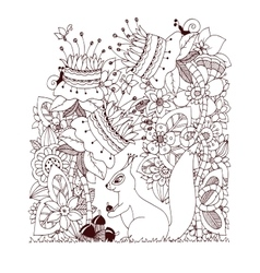 Zen tangle squirrel with vector