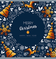 christmas and new year gold low poly luxury card vector image vector image