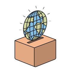 Colorful silhouette flat globe earth world vector