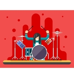 Drummer Drum Icons Set Hard Rock Heavy Folk Music vector image