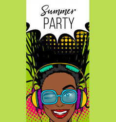 simmer misuc banner woman disco pop at vector image