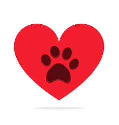 animal paw in heart isolated on white love animals vector image