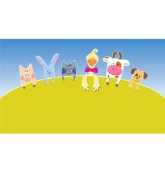 cartoon farm animals day vector image vector image