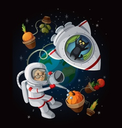 Granny astranaut in the open space vector