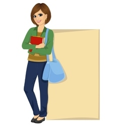 student leaning against a blank board vector image vector image