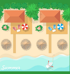 top view on the resort the bungalows the beach vector image
