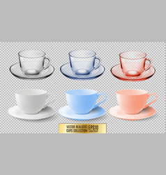 a set of glass and ceramic tea cups transparent vector image