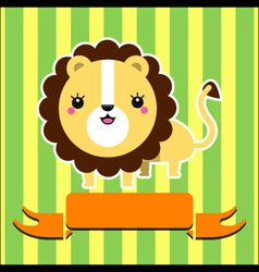 Cute lion with banner vector image vector image