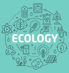 green line flat circle ecology vector image