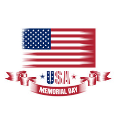 memorial day card with usa flag vector image vector image