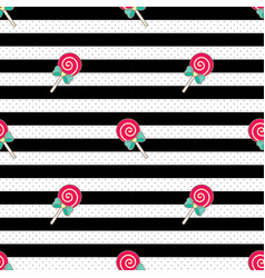 pattern lollipop black white vector image vector image