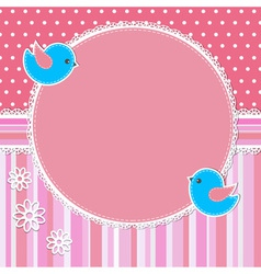 Pink frame with birds and flowers vector image vector image