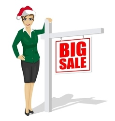 woman standind next to big sale sign vector image vector image