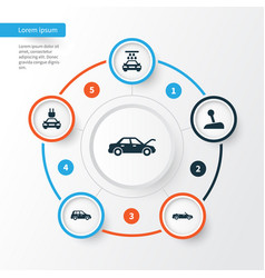 Car icons set collection of fixing transport vector