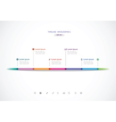 horizontal timeline with six color points for vector image vector image