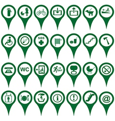 Map pointers different symbols vector image vector image