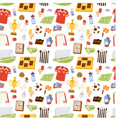 soccer icons seamless pattern vector image